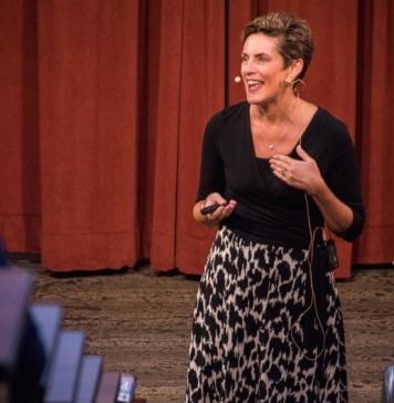 Karen giving a keynote at the University of Nebraska