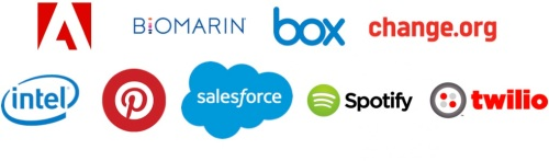 Logos for Adobe, Biomarin, Box, Change.org, Intel, Pinterest, Salesforce, Spotify, and Twilio