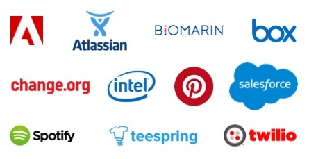Logos for Adobe, Atlassian, Biomarin, Box, Change.org, Intel, Pinterest, Salesforce, Spotify, Teespring, and Twilio