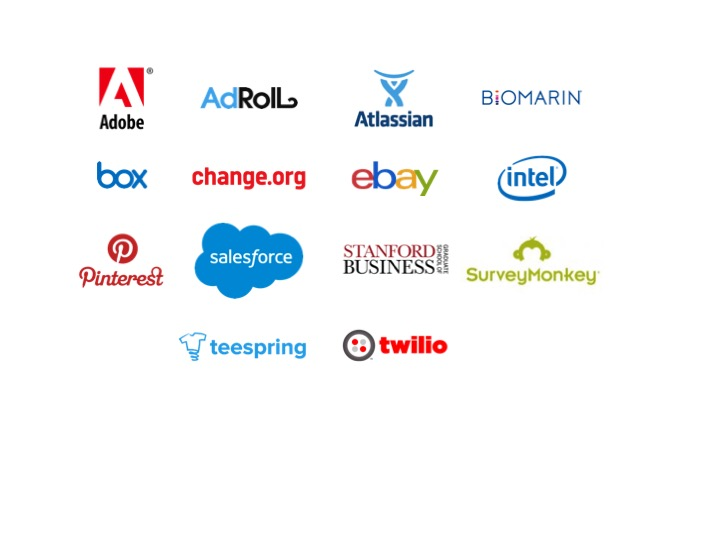 Adobe, AdRoll, Atlassian, Bio Marin, Box, change.org, ebay, Intel, Pinterest, Salesforce, Stanford GSB, Survey Monkey, Teespring, Twilio