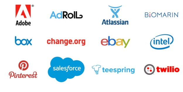 Adobe, AdRoll, Atlassian, Bio Marin, Box, change.org, ebay, intel, pinterest, salesforce, teespring, twilio