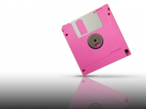 Photo of a pink floppy disk