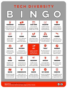 Bingo card of phrases we want to hear from male allies in the tech industry.