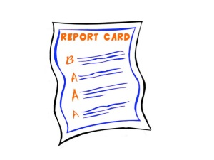 Report card with a B