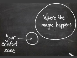 "Chalkboard drawing of a circle labeled ""comfort zone"" and a larger circle with ""where the magic happens"""