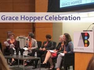 Karen on a panel at the Grace Hopper Celebration