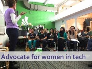 Karen speaking to a group of women