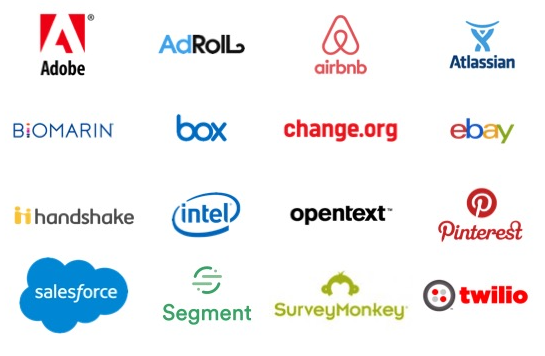 Logos for Karen's clients: Adobe, AdRoll, Airbnb, Atlassian, Biomarin, Box, change.org, ebay, Handshake, Intel, Opentext, Pinterest, Salesforce, Segment, SurveyMonkey, and Twilio