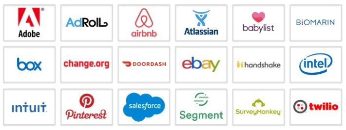 Logos of Karen's clients, including Adobe, AdRoll, Airbnb, Atlassian, Babylist, Biomarin, Box, Change.org, DoorDash, eBay, Handshake, Intel, Intuit, Pinterest, Salesforce, Segment, SurveyMonkey and Twilio
